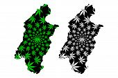Southwest Region (regions Of Cameroon, Republic Of Cameroon) Map Is Designed Cannabis Leaf Green And poster
