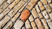 Stone Pavement Texture. Old Cobble Stoned Pavement Background. Details. Jerusalem, Israel. 16:9 Pano poster