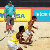 MOSCOW, RUSSIA - JUNE 8: Thiago Santos Barbosa (closer) and R. Ferramenta (further), Brazil vs McHugh-Slack, Australia, during Beach Volleyball Swatch World Tour in Moscow, Russia at June 8, 2012