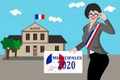 French Municipal Elections 2020. Illustrationtext: Municipal Election (in French) poster