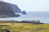 View Of Ahu Tongariki And The Coast Of Easter Island From The Crater Of The Rano Raraku Volcano, Eas poster