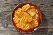 Salty Crisps Potato Chips In A Plate On Old Wooden Table, Top View poster