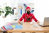 Keeping Festive. Happy Businessman In Christmas Jumper. Fashion Hipster In Office. Fashion Knitwear  poster