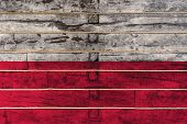 National Flag  Of Poland On A Wooden Wall Background. The Concept Of National Pride And A Symbol Of  poster