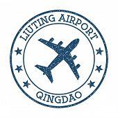 Liuting Airport Qingdao Logo. Airport Stamp Vector Illustration. Qingdao Aerodrome. poster