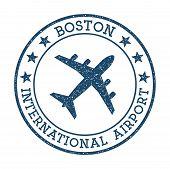 Boston International Airport Logo. Airport Stamp Vector Illustration. Boston Aerodrome. poster