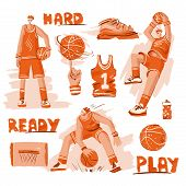 Vector Sketch Textured Set Of Basketball - Basketball Players, Basket, Ball, Sneakers. Vector Sport  poster
