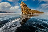 Ogoy Island At Baikal At Winter Sunrise. Russia, Siberia poster