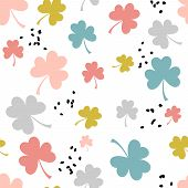 Seamless Scandinavian Pattern With Pastel Colored Three Leaf Clovers. Nordic, Scandinavian Design. G poster