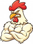 Strong rooster mascot. Vector illustration with simple gradients. All in a single layer.