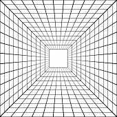 3d Perspective Mesh Tunnel Vector Perspective Square Mesh poster