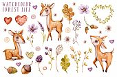 Cute Baby Deer Animal For Kindergarten, Nursery Isolated Illustration For Children Clothing, Pattern poster