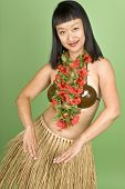pic of hula dancer  - Asian woman dressed in hula girl outfit - JPG