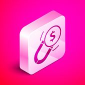 Isometric Magnet With Money Icon Isolated On Pink Background. Concept Of Attracting Investments. Big poster