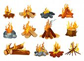 Campfire And Bonfire Vector Icons, Burning Fire On Woods And Stones. Outdoor Camping And Scout Hikin poster