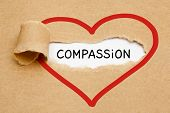 Handwritten Word Compassion Appearing Behind Ripped Red Heart On Brown Paper. poster