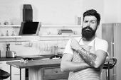 Welcome To His Master Class In Culinary School. Happy Master Cook. Professional Cook With Long Beard poster