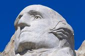 stock photo of mount rushmore national memorial  - George Washington face on Mount Rushmore National Memorial - JPG
