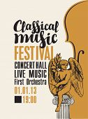 Vector Poster For A Festival Or Concert Of Classical Music In Retro Style With Violin And Hand-drawn poster