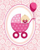 Little Girl, Card, Floral Background, Vector. A Little Girl In A Pink Stroller. A Pink Balloon Is Ti poster