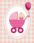 Baby, Girl, Asia, Greeting, Greeting Card, Pink Checkered Background, Vector. A Little Girl In A Pin poster