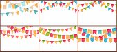 Party Bunting. Birthday Flags Banner, Color Triangle Flag Buntings And Festival Paper Garland Vector poster