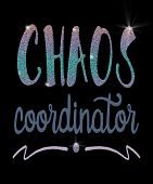 Chaos Coordinator In Glitter Text Script With A Swash Design In This Illustration.  Great Conceptual poster