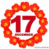 December 17 Icon. For Planning Important Day. Banner For Holidays And Special Days With Flowers. Dec poster