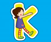 Illustrated alphabet letter series with kids