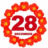 December 28 Icon. For Planning Important Day. Banner For Holidays And Special Days With Flowers. Twe poster