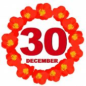 December 30 Icon. For Planning Important Day With Flowers. Banner For Holidays And Special Days. Thi poster