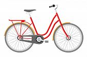 Old City Bicycle. Vintage Red Bike Isolated On White. Transportation Vehicle. Vector Illustration In poster