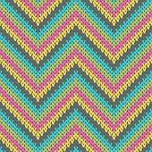 Chunky Zigzag Chevron Stripes Knitting Texture Geometric Vector Seamless. Scarf Knitwear Fabric Prin poster