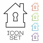 Black Line House Under Protection Icon Isolated On White Background. Protection, Safety, Security, P poster