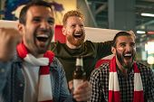 Group of friends watching soccer match in pub. Happy friends drinking beer and cheering together in  poster