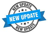 New Update Label. New Update Blue Band Sign. New Update poster