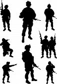 stock photo of rifle  - Army soldiers with rifles  - JPG