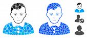 Boy Composition Of Filled Circles In Various Sizes And Color Tinges, Based On Boy Icon. Vector Fille poster