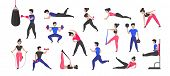 Sport Training. Cartoon Male And Female Characters Doing Sport Exercises And Healthy Activities. Vec poster