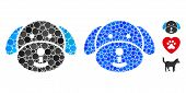 Puppy Mosaic Of Small Circles In Variable Sizes And Color Tones, Based On Puppy Icon. Vector Small C poster