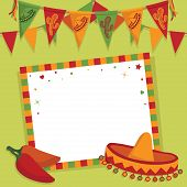 image of mexican  - mexican party card with sombrero bunting and space for text - JPG