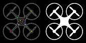 Glossy Mesh Quadcopter Icon With Glare Effect. Abstract Illuminated Model Of Quadcopter. Shiny Wire  poster