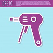 Retro Purple Electric Hot Glue Gun Icon Isolated On Turquoise Background. Hot Pistol Glue. Hot Repai poster