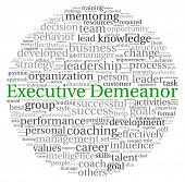 stock photo of change management  - Executive Demeanor concept in word tag cloud on white background - JPG