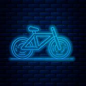 Glowing Neon Line Bicycle Icon Isolated On Brick Wall Background. Bike Race. Extreme Sport. Sport Eq poster