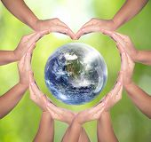 International Human Solidarity Day Concept: Human Hands In Shape Of Heart. Unity, World Peace, Human poster