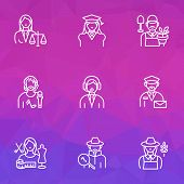 Occupation Icons Line Style Set With Farmer Woman, Judgment, Assistant And Other Mailman Elements. I poster