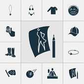 Fashionable Icons Set With Knitwear, Thimble, Fashion Sketch And Other Needlework Elements. Isolated poster
