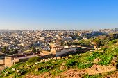 Sightseeing Of Morocco. Beautiful Aerial View Of The Historic Part Of Fez, Morocco poster