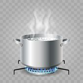 Cooking Boiling Water. Saucepan Boil For Food Cooking, Cartoon Kitchen Pan With Boiled Water On Hot  poster